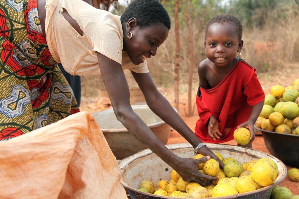 En kvinde er igang med fylde en glasfiber sæk med appelsiner. Hun har en butik på landevejen mellem Bohicon og Cové. Vejen er finansieret af Danida og blev bygget færdig i 2006. Den har betydet meget mere trafik og dermed meget mere handel. Hun fortæ