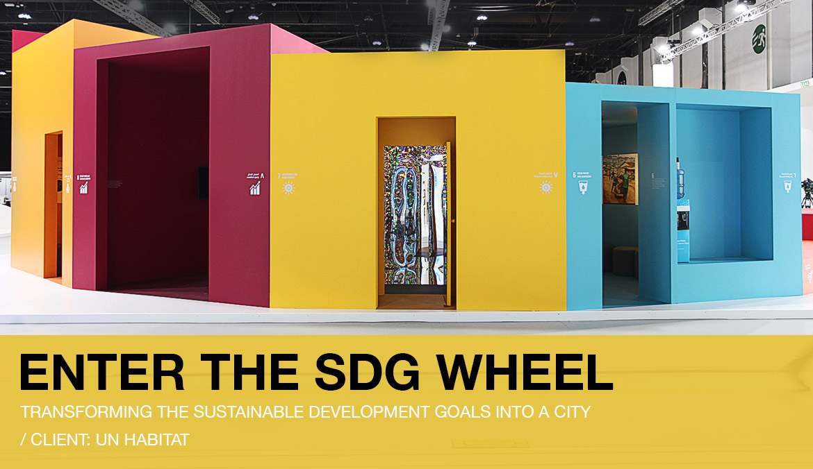 Take a walk around the very large SGD circle. It measures 20 meter in diameter and the tallest house – SDG 11 – is 5,5 meter.